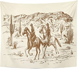 TOMPOP Tapestry Ranch Wild West Desert Cowboys Sketch Western Landscape Home Decor Wall Hanging for Living Room Bedroom Dorm 50x60 Inches