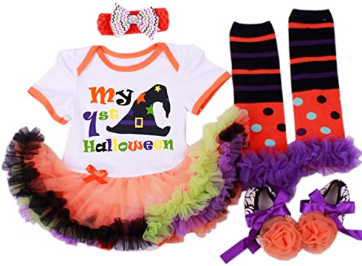 1406755217e2 CAKYE Baby Girl's Halloween Costumes Pumpkin Tutu Dress Set (Small (3-6  months