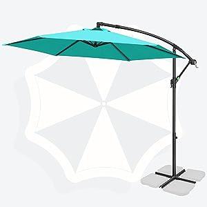 FRUITEAM 10-ft Offset Hanging Umbrellas, Garden Patio Outdoor Swimming Pool Umbrellas Large Market Umbrella with Crank & Cross Base, Waterproof UV Protection Cantilever Umbrella