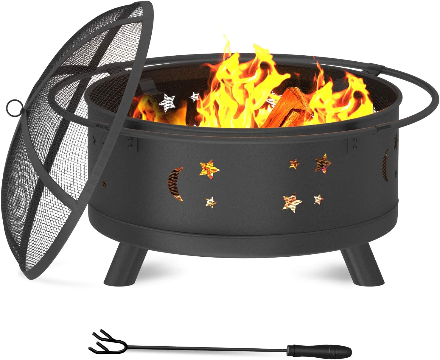 """WINWEND Fire Pit, 30"""" Firepit Outdoor Wood Burning for Patio & Backyard with Spark Screen and Fireplace Poker (Stars & Moons Design)"""