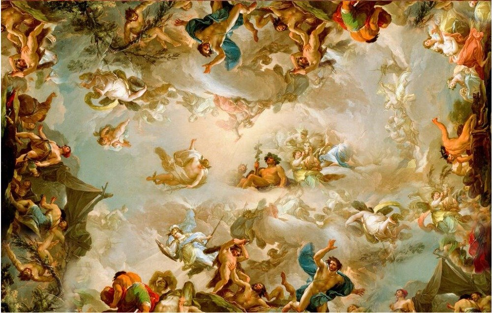 Lwcx Custom Photo 3D Wallpaper Non-Woven Picture European Character Painting Ceiling Mural 3D Wall Murals Wallpaper for Walls 3 D 300X210CM by LWCX (Image #3)