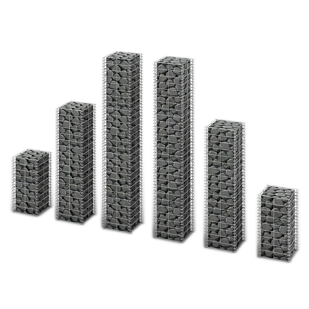 3-tlg Gabionen-Säule Steinkorb Säulengabione Steingabionen Drahtkorb 4 Größen