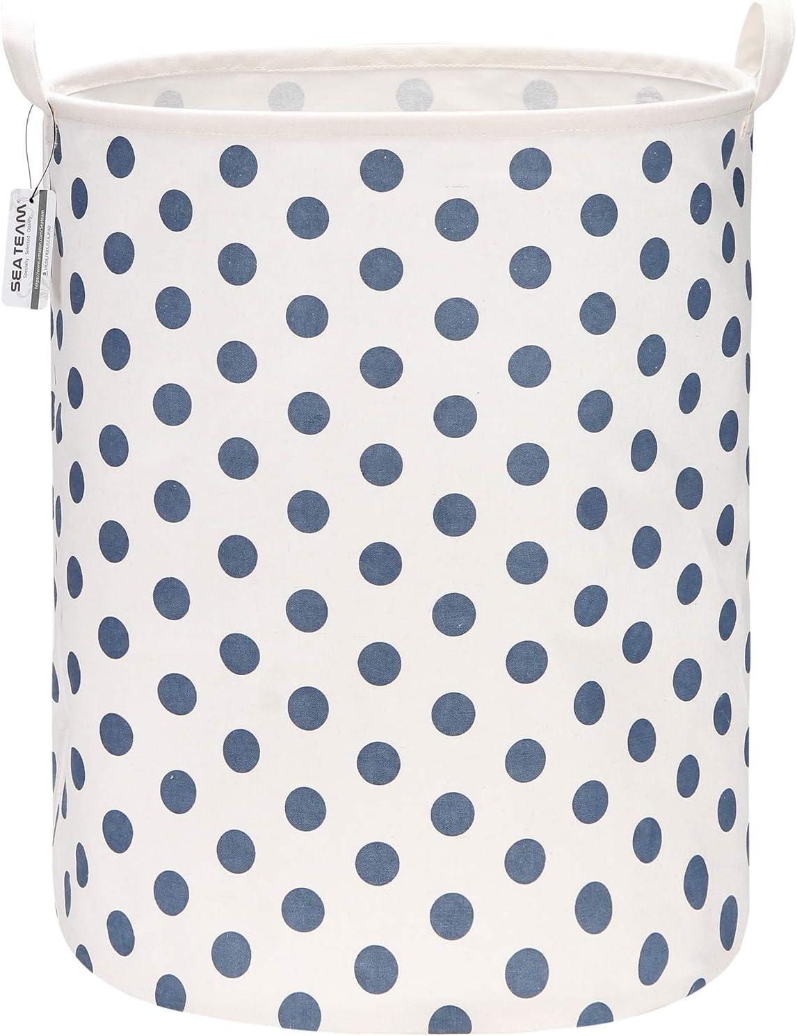 "Sea Team 19.7 Inches Large Sized Waterproof Coating Ramie Cotton Fabric Folding Laundry Hamper Bucket Cylindric Burlap Canvas Storage Basket with Stylish Polka Dot Design (19.7"", Blue)"