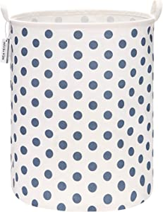 "Sea Team 19.7 Inches Large Sized Waterproof Coating Ramie Cotton Fabric Folding Laundry Hamper Bucket Cylindric Burlap Canvas Storage Basket with Stylish Polka Dot Design (19.7"", Blue)"