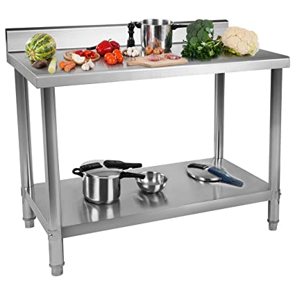Royal Catering RCAT-100/70-S Mesa de Trabajo Acero Inoxidable (100 x 70 x 96 cm, Dos Superficies, Pies Regulables, Anti salpique, Capacidad de Carga: ...