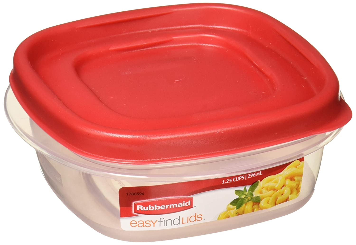 Rubbermaid 7J59 781147419398 Easy Find Lids Square 1.25-Cup Food Storage Container (Pack of 4), 1-Pack, Red