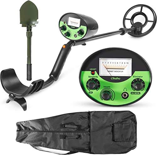 Ohuhu Metal Detector, High Accuracy Detector with Pinpoint, Beach Forest Treasure Hunting, Gold Digger with Waterproof Sensitive Search Coil, Bonus A Foldable Shovel,Christmas Idea Gifts for Kids