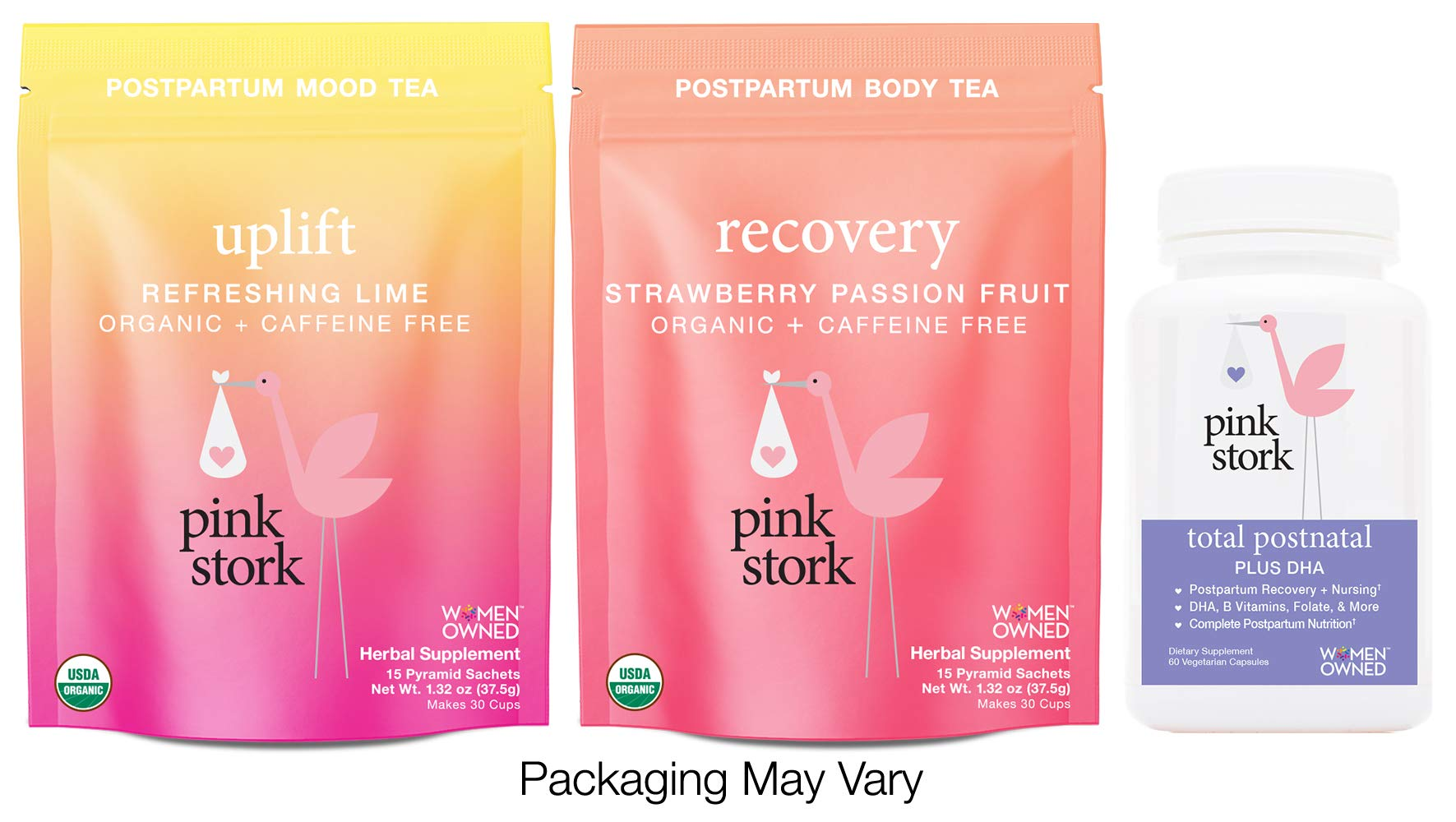 Pink Stork Recovery Bundle: Total Postnatal Vitamin, Recovery Tea, Uplift Tea -Support Healthy Postpartum and Nursing with Herbs and Vitamins