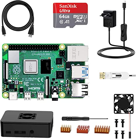 TALLA 4+64G. NinkBox Raspberry Pi 4 Modelo B, Tarjeta Micro SD de 4GB RAM+64GB, Versión Actualizada de Raspberry pi 3b+, con Micro HDMI, Fuente de Alimentación 5V/3A con Interruptor, Ventilador, Micro HDMI