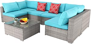 Furnimy 7 PCS Outdoor Patio Furniture Set Cushioned Sectional Conversation Sofa Set Rattan Wicker Gray with Tempered Glass Coffee Table and 2 Red Pillows (Turquoise)