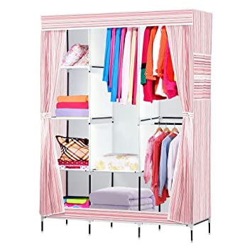 Delightful NEX Wardrobe DIY Clothes Storge Cabinet Portable Tool Organizer Bedroom  Closet Doll Collection(Pink)