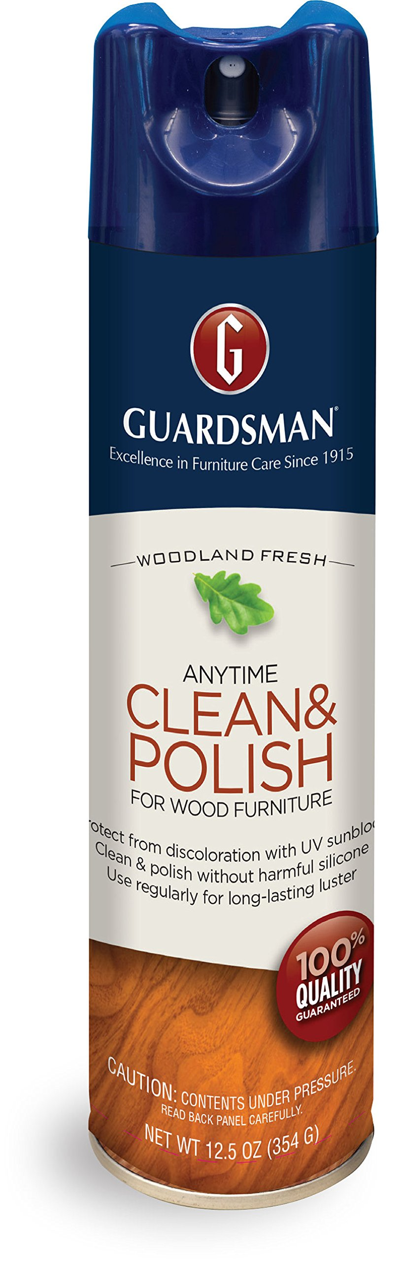 Guardsman Clean & Polish For Wood Furniture - Woodland Fresh - 12.5 oz - Silicone Free, UV Protection - 460100 by Guardsman