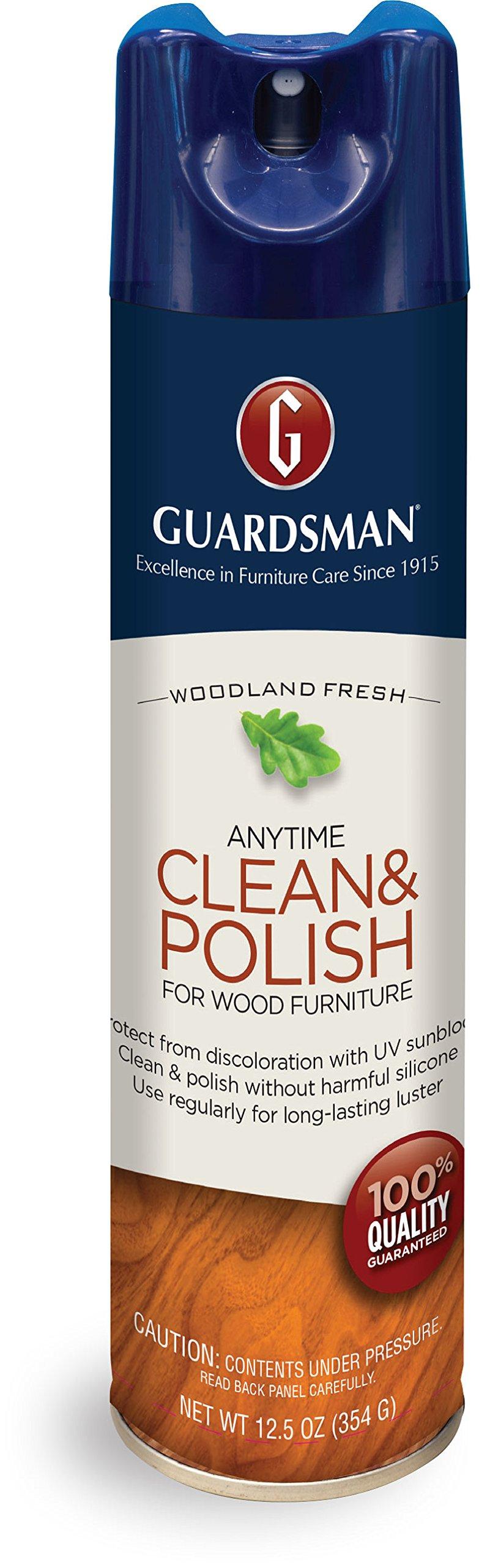 Guardsman Clean & Polish For Wood Furniture - Woodland Fresh - 12.5 oz - Silicone Free, UV Protection - 460100