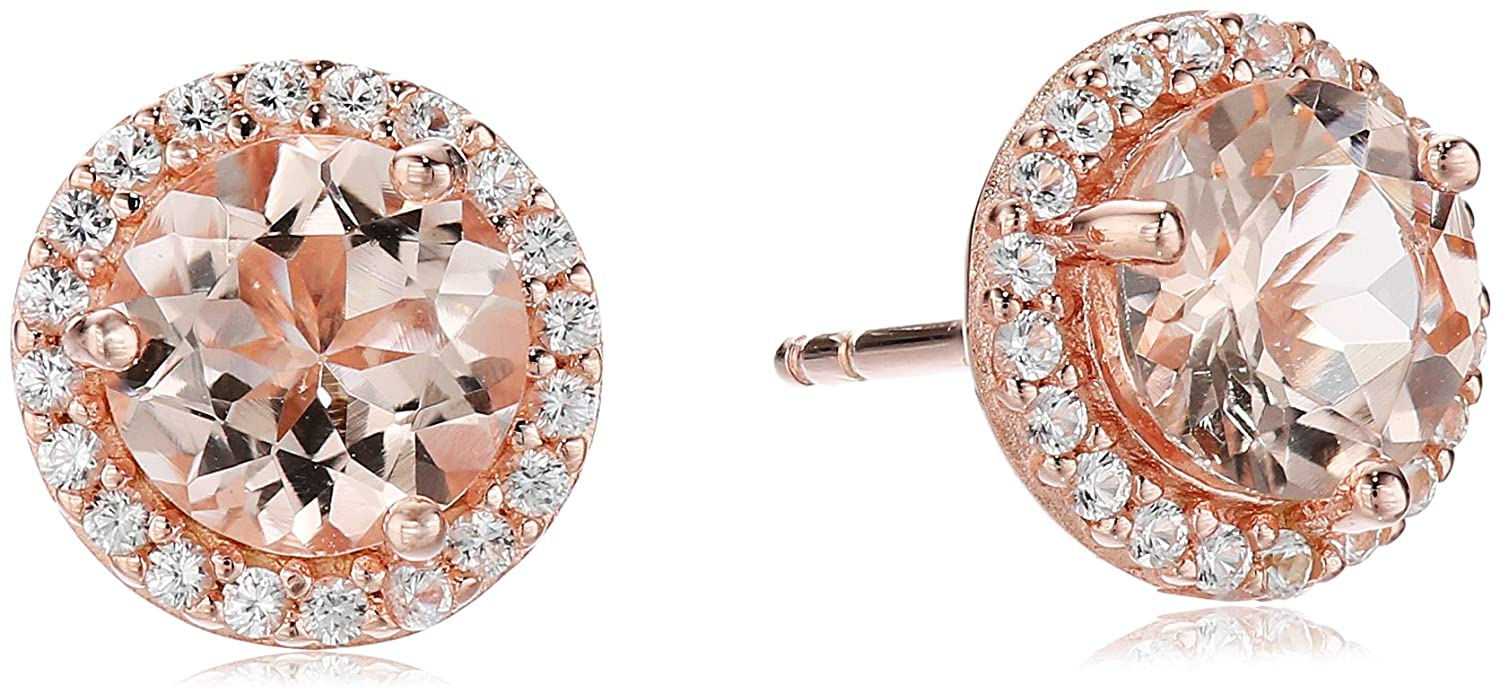 18k Rose Gold over Sterling Silver Pink Morganite with Created White Sapphire Halo Stud Earrings Amazon Collection E20338PMSSRCW