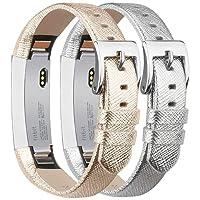 Tobfit Bracelets Compatible avec Fitbit Alta de Replacement Cuir Bracelets (2 Pack) Fitbit Alta HR Bracelet Réglable élégant et Classique Bande pour Fitbit Alta et Fitbit Alta HR