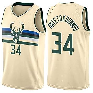 JINHAO Camiseta de Baloncesto para Hombre NBA Milwaukee Bucks #34 ...
