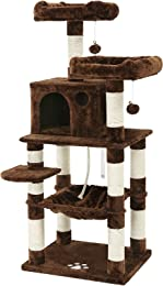 SONGMICS Cat Tree Condo Multi-Level Kitty Play House Sisal Scratching Posts Tower