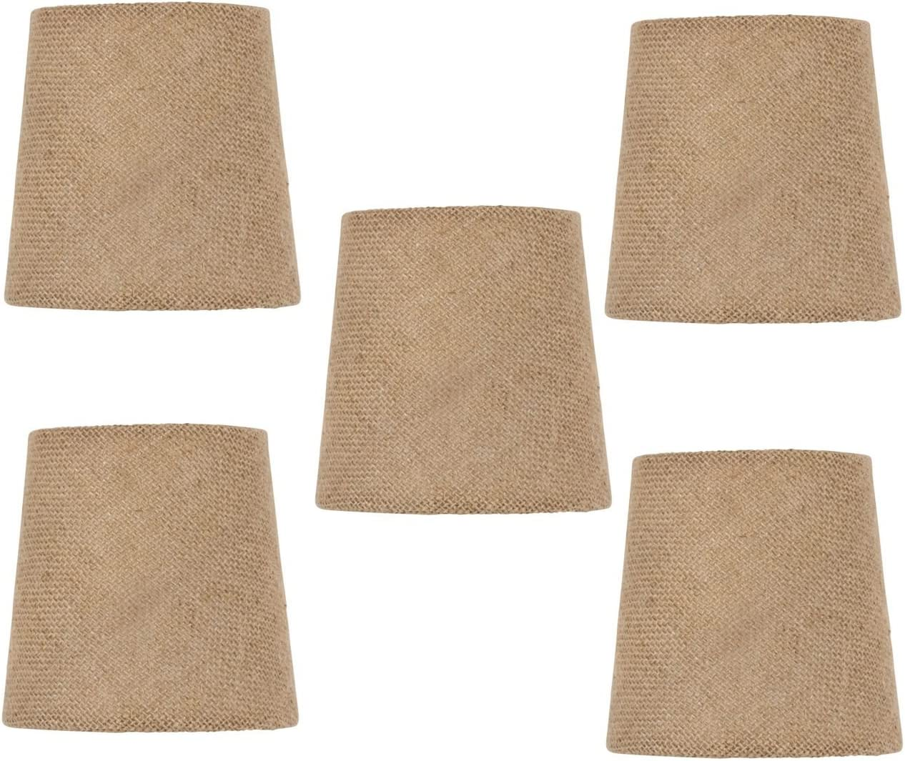 Upgradelights Burlap 4 Inch Mini Clip On Chandelier Shades Set of 5 2.5x4x4