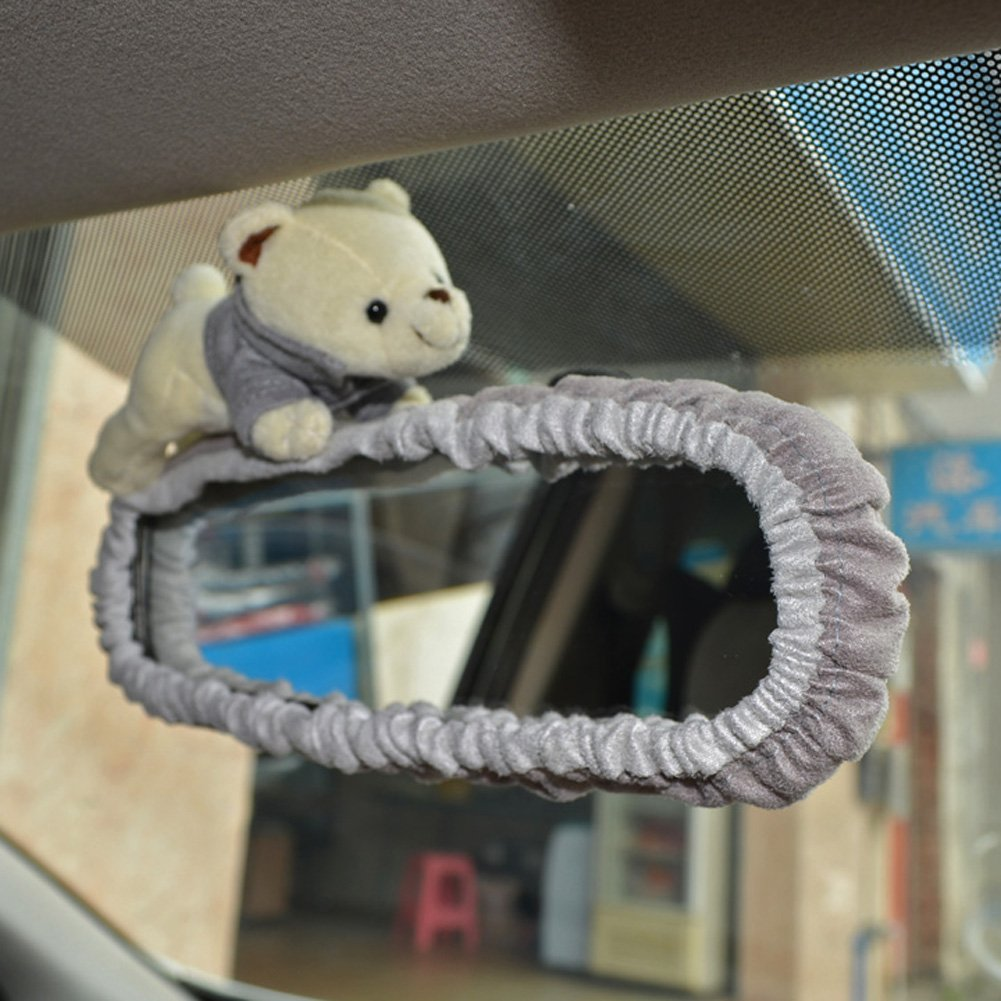 Automobiles Rearview Mirror Hanging Decoration Covers Bear - Brown Color Tianmei Cute Cartoon Bear Doll Styling Car Interior Suede Rear View Mirror Cover Ornaments