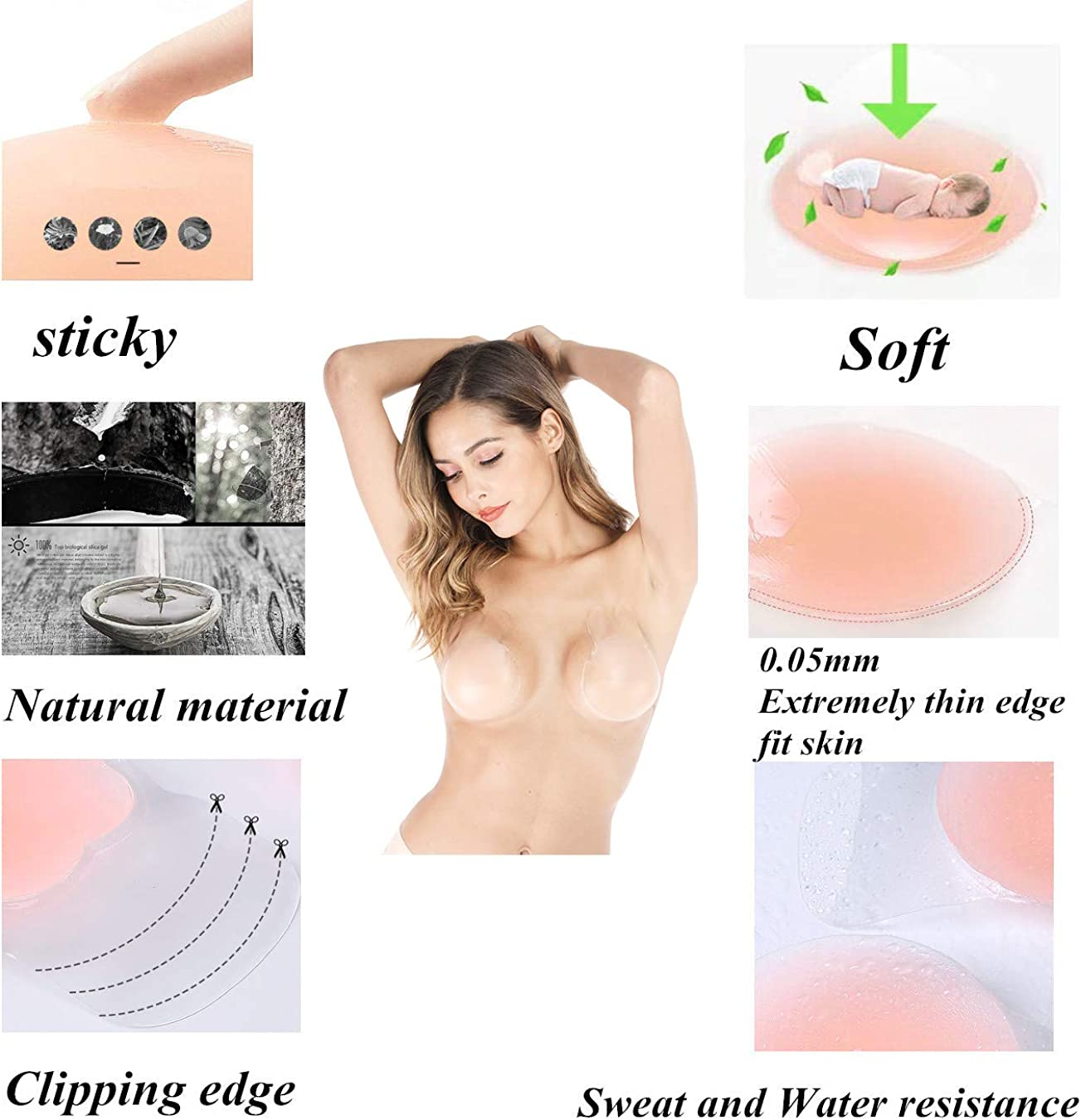 Longwu Invisible Self Adhesive Push up Sticky Stick on Rabbit Bra Strapless Bra Breast Lift Tape Pasties Petals 2 Pairs Reusable Adhesive Silicone Breast Lifting NippleCovers