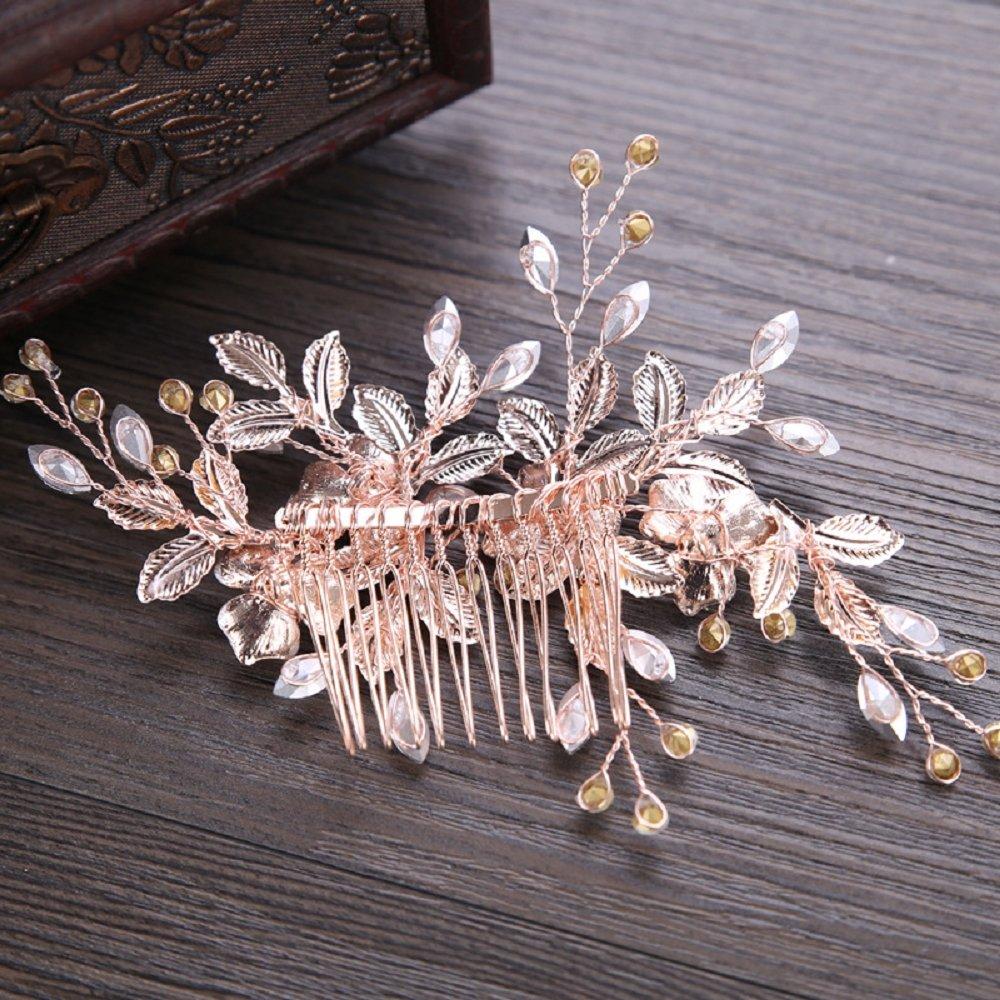 Frauen Damen Kristall Strass Blütenblatt Haarspange mit Kamm hübsch Haarschmuck