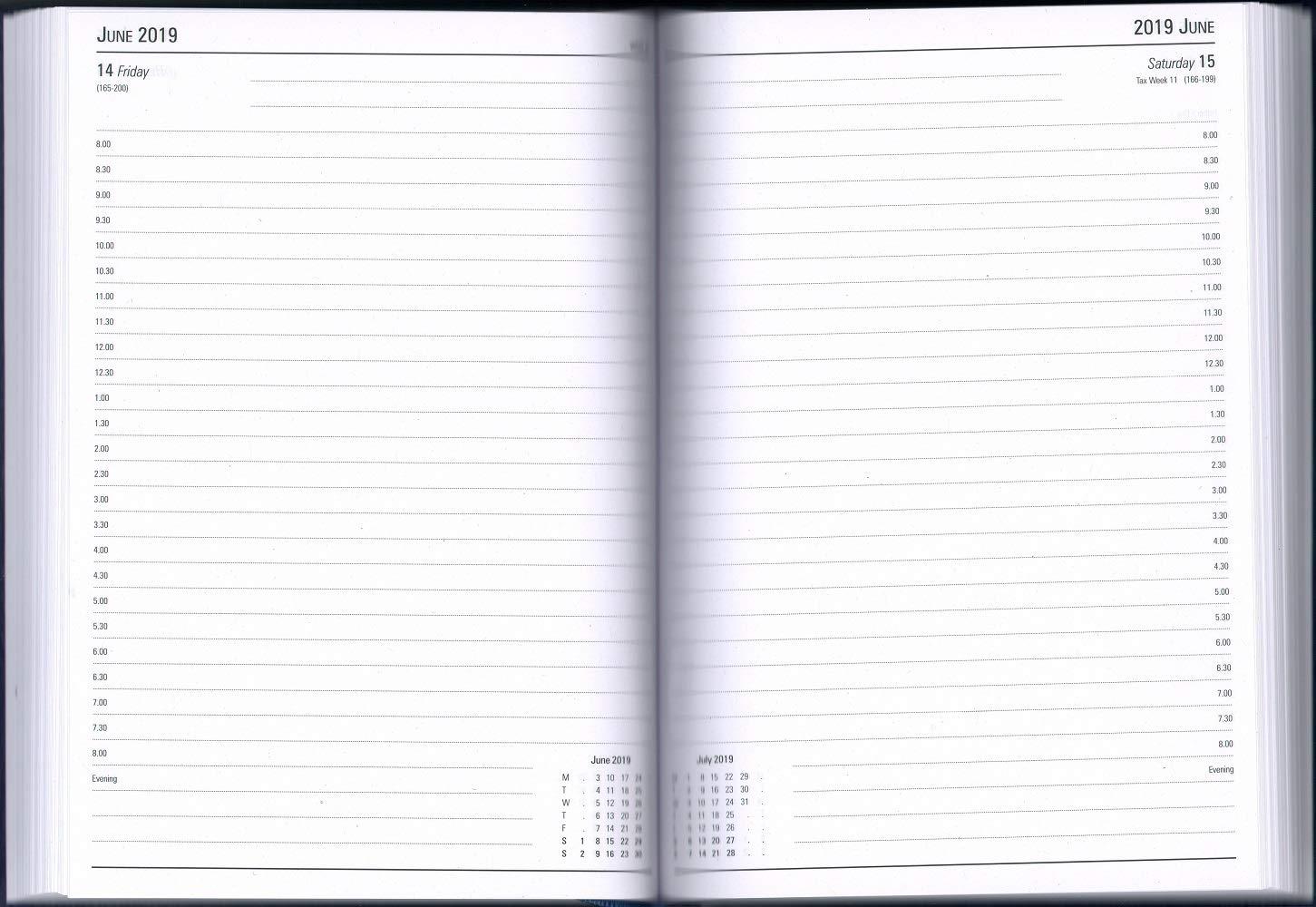 Page Rendez-Vous 2019 Bleu Agenda de Bureau KFA51ABU19 A5 Jour