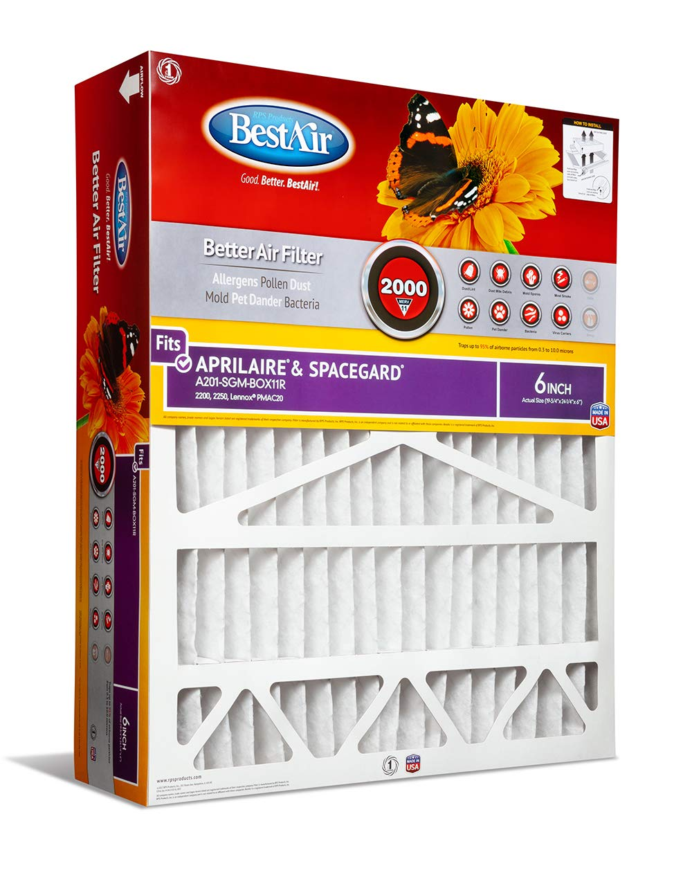 BestAir A201-SGM-BOX11R Air Cleaning Furnace Filter with Cardboard Frame, MERV 11, For Aprilaire/SpaceGard 2200, 2250 (201) & Lennox PMAC-20C 24'', 20'' x 25'' x 6'', 2 Pack
