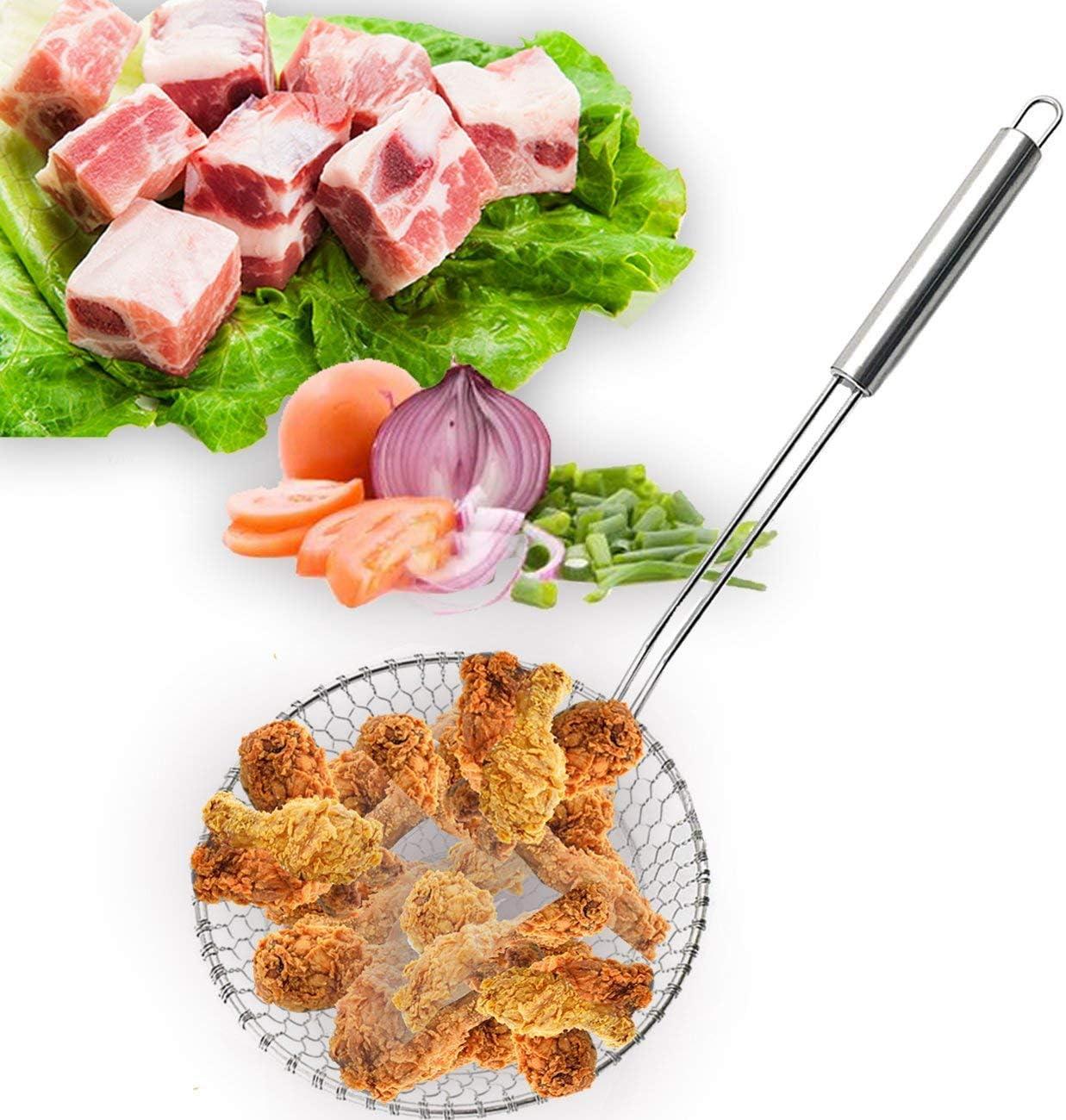 Home Servz Stainless Steel Asian Spider Strainer Kitchen Skimmer-Durable Handle/& Spiral Mesh Basket-Spaghetti,Noodle,Ravioli,Wok,Cooking Filter,Food Strainers,Fat Separator 5-Inch Strainer Basket