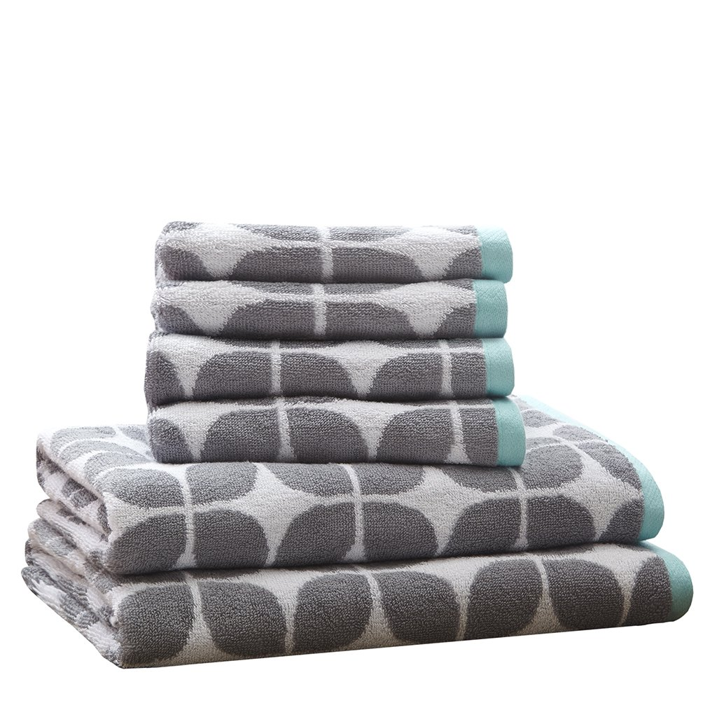Lita Cotton Bathroom Towels , Jacquard Highly Absorbent Bath Towel Set , 6-Piece Include 2 Bath Towels & 4 Hand Towels , Dark Grey