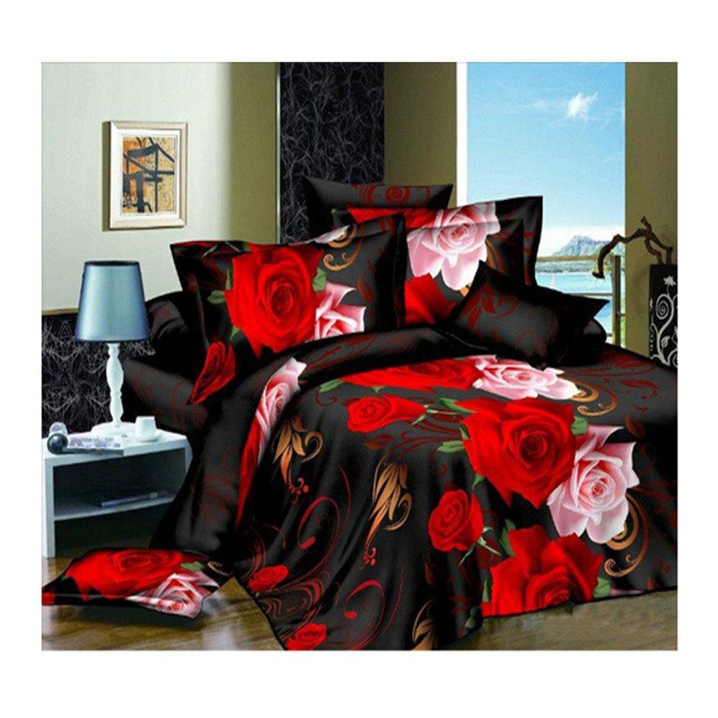 3D Flower Queen King Size Bed Quilt/Duvet Sheet Cover 4PC Set Cotton Sanded 023