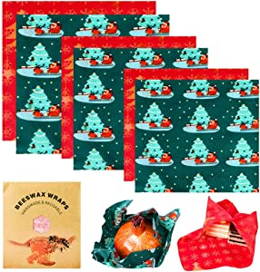 Hoomall Beeswax Reusable Food Wraps, Set of 6 Pack Beeswax Wraps, Sandwich Wrappers Food Storage Plastic Free Alternative Christmas Tree Pattern Holiday Wrap