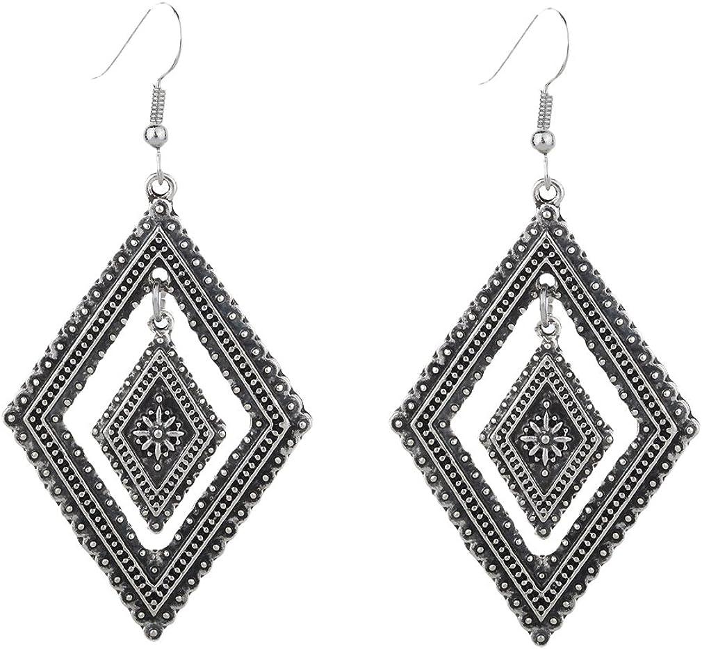 YAZILIND Vintage tibetano plata aleacion doble rombos anzuelo aretes mujeres ninas regalo