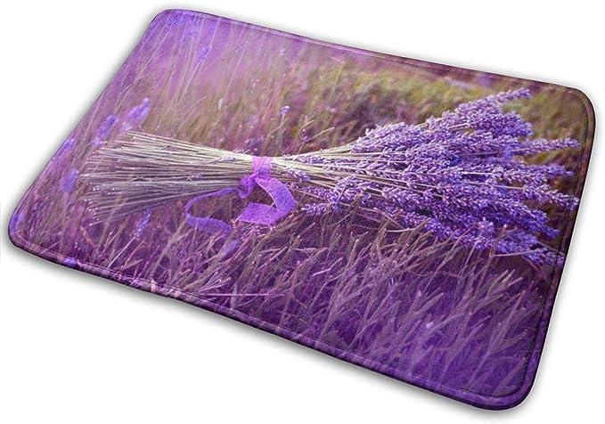 Imagen deBLSYP Felpudo Purple Lavender Bath Mat Non Slip Washable Shower Quick Dry Bath Rugs for Bathroom Door 24 x 16 Inch