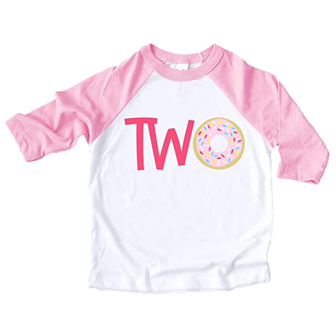 b8fac189a Two Donut 2nd Birthday Shirt for Girls Pink Raglan Baseball Tee for Second  Birthday Girl Donut