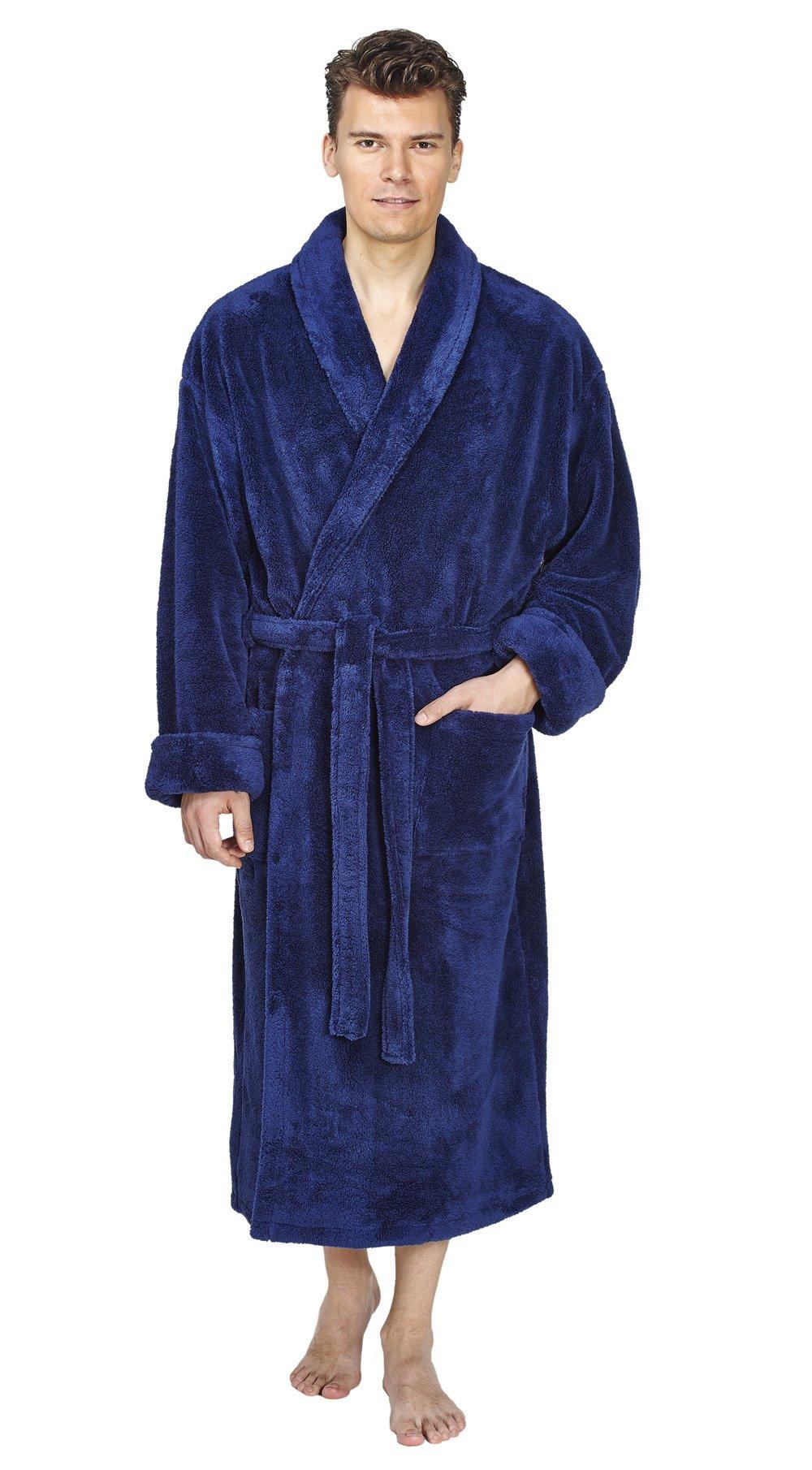 Arus Men's Shawl Fleece Bathrobe Turkish Soft Plush Robe, Navy Blue, L/XL