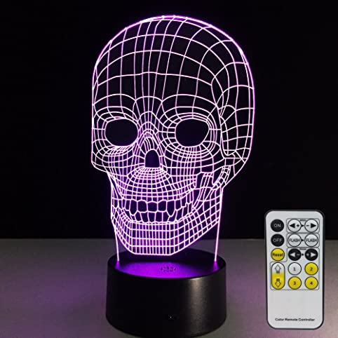 Skull Lamp with Remote Controller LED Touch 7 Colors Changing ...