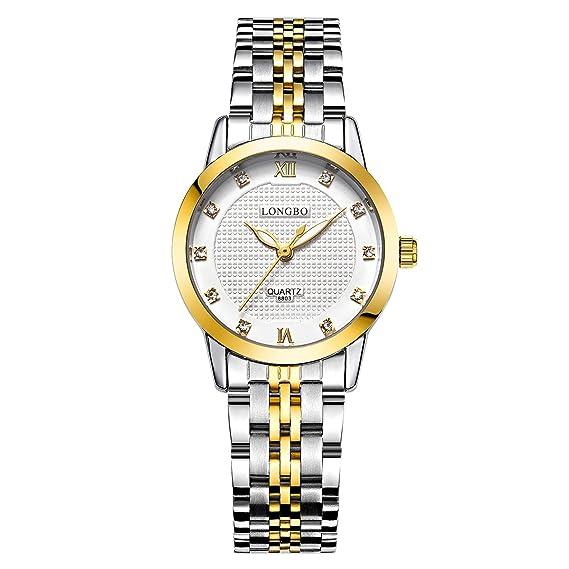 Reloj para mujer, de la marca Longbo, en color plateado y dorado con piedras brillantes: Amazon.es: Relojes