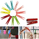 Dazzling Toys 3 Inch Wood Craft Spring Clothespins Assorted Colors - Pack of 50