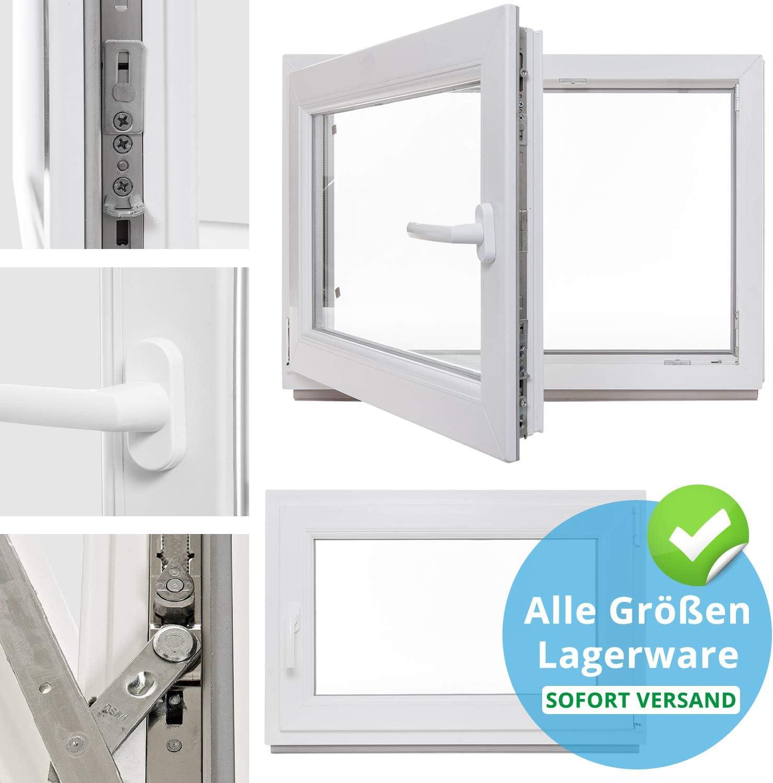 3 fach Verglasung BxH:65x70 cm DIN Rechts Dreh-Kipp Fenster Kellerfenster Kunststofffenster wei/ß Premium ALLE GR/Ö/ßEN