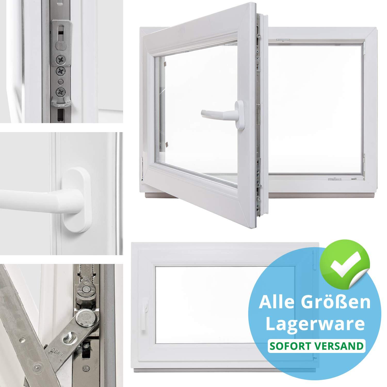 2-fach-Verglasung DIN links Kunststoff Kellerfenster Fenster wei/ß Lagerware BxH: 60 x 60 cm