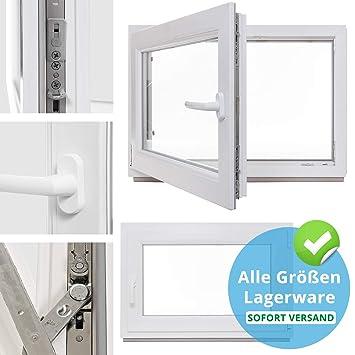 Fenster Kunststoff BxH: 100 x 50 cm anthrazit//wei/ß DIN Links Kellerfenster