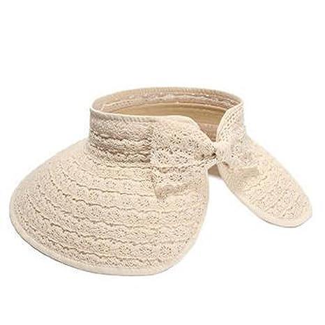 6700196bc18ae Amazon.com  Sllxgli Summer Sun Hat Lace Bow Empty Top Hat Outdoor Sun Hat  Travel Hat  Health   Personal Care