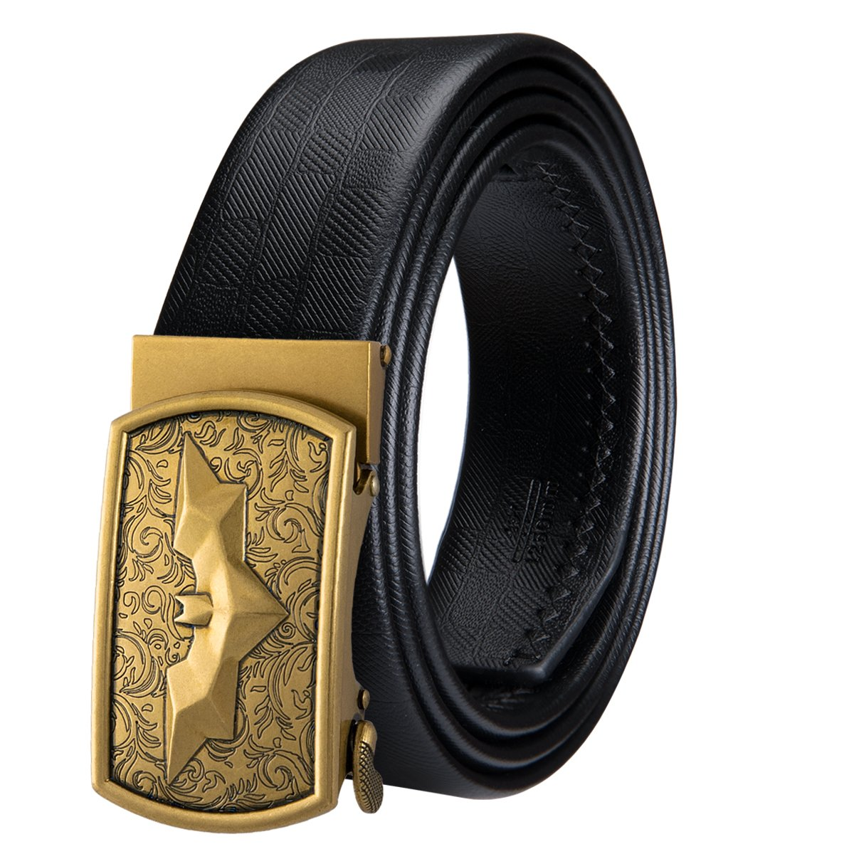 Dubulle Mens Italian Genuine Leather Belt with Removable Buckle Adjustable Automatic Buckle Belt Black Ratchet Belt for Men (DK-1004, waist size 33'' to 41'', belt 49''(125cm))
