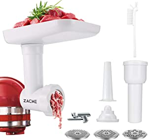 Meat Grinder Attachment, Meat Grinder for Kitchenaid Stand Mixers, Including 3 Grinding Plates, Meat Roller, Sausage Stuffer and Cleaning Brush, Suitable for Cutting Cheese, Veg, Meat (White)