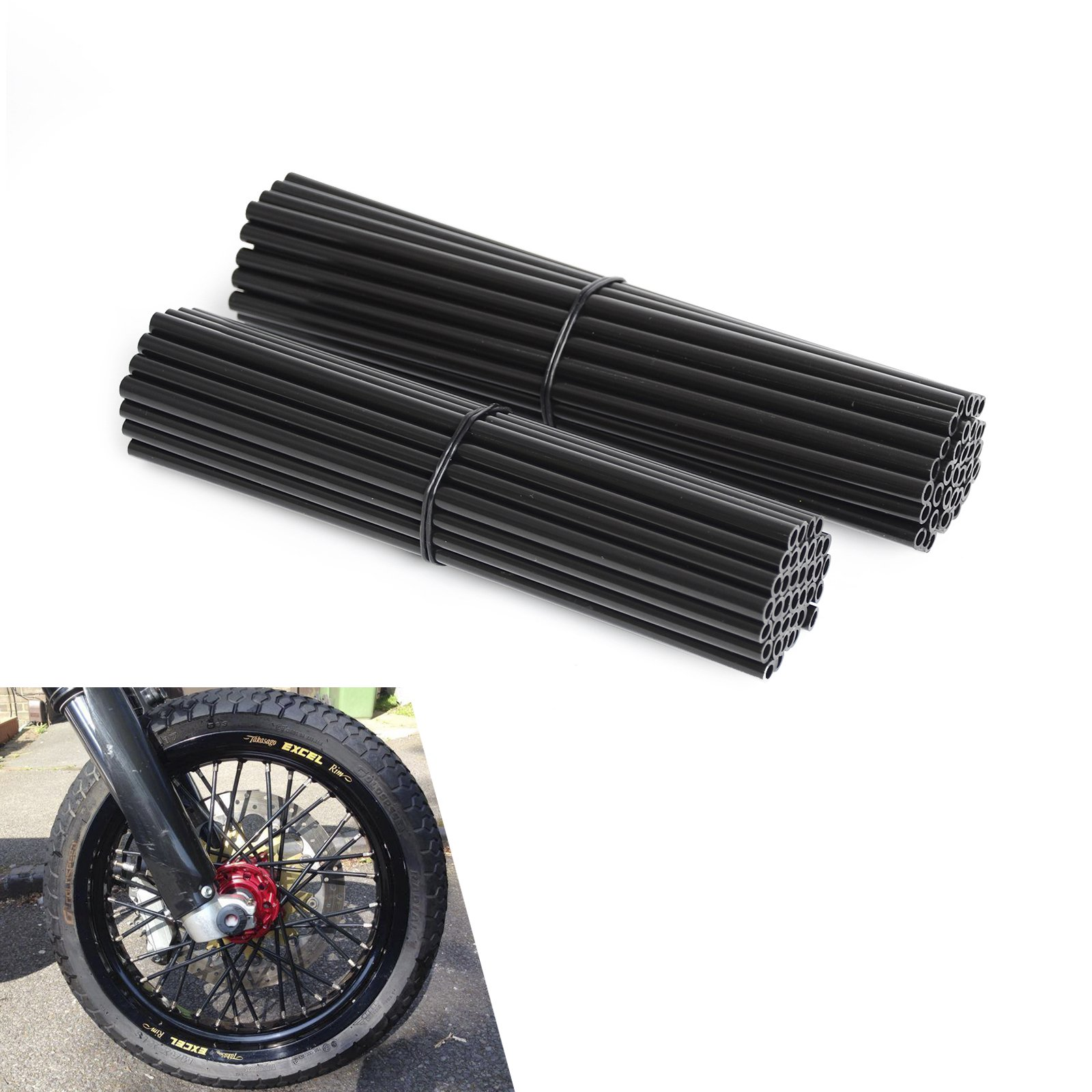 NICECNC Black Spoke Wraps Covers for 17-21 Inches Wheel Dirt Bikes MX Enduro Supermoto