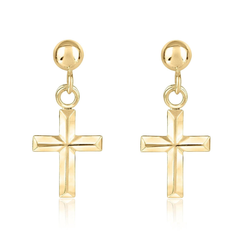 Com Yellow Gold Cross Earrings Dangle Jewelry