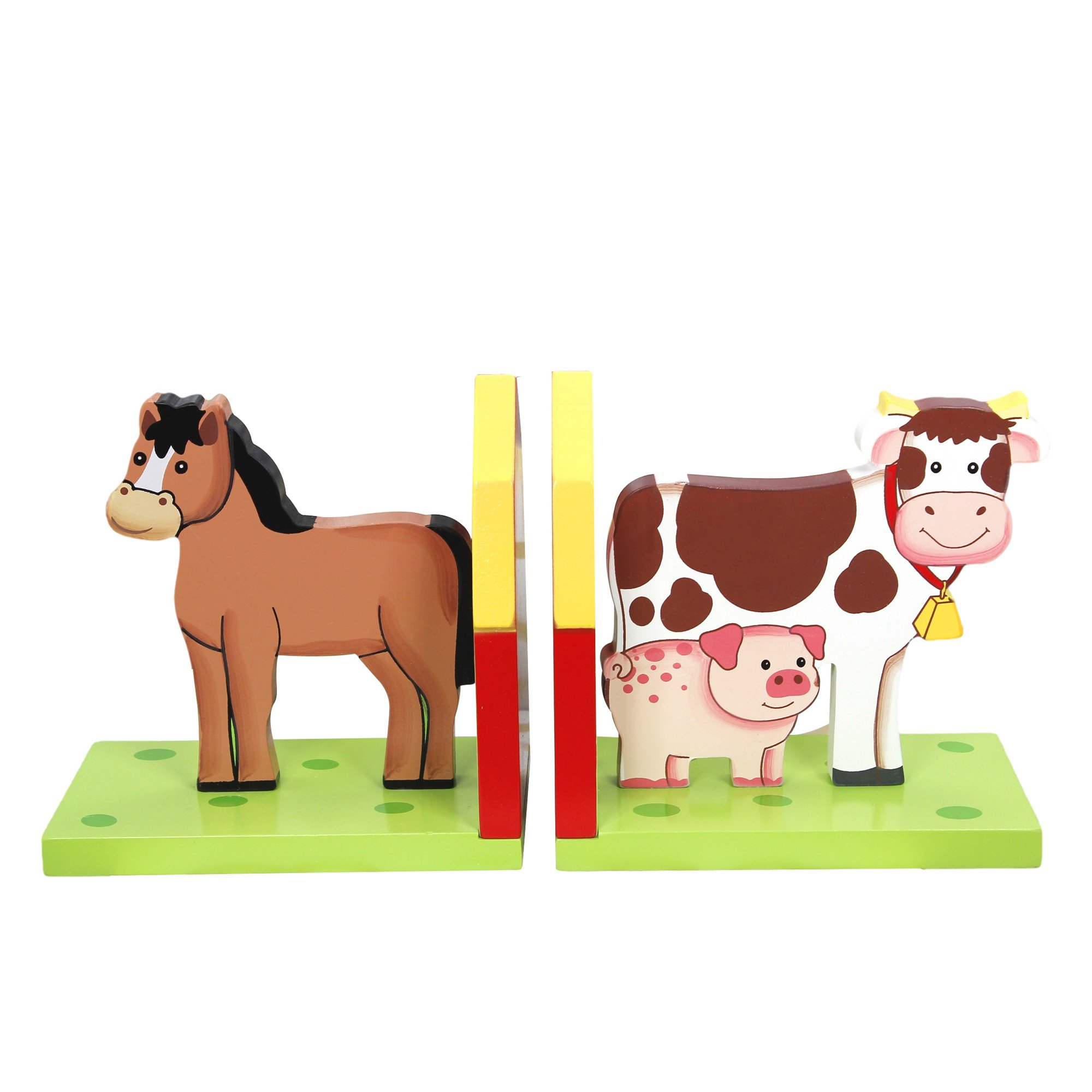 Fantasy Fields - Happy Farm Animals Thematic Set of 2 Wooden Bookends for Kids |  Imagination Inspiring  Hand Crafted & Hand Painted Details | Non-Toxic, Lead Free Water-based Paint