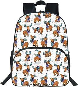 Oobon Kids Toddler School Waterproof 3D Cartoon Backpack, Mooses in Cartoon Elks with Rainbow Antlers Kid Cheerful Comic Pattern, Fits 14 Inch Laptop