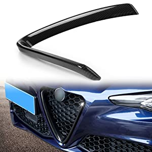 GZYF 1PC ABS Carbon Fiber Front Bumper Grill Grille Trim Decor Fits Alfa Romeo Giulia 2017-2018 / Quadrifoglio 2017 Sedan