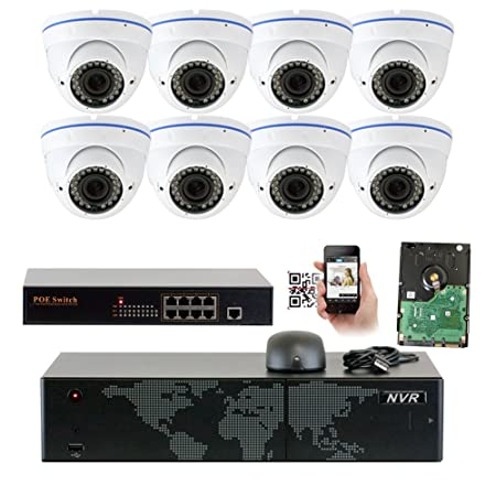 GW Security 5MP 1920p 8 Channel NVR Network Security Camera System – 8 x HD 5MP 1080P 2.8 12mm Varifocal Zoom Weatherproof Dome PoE IP Camera